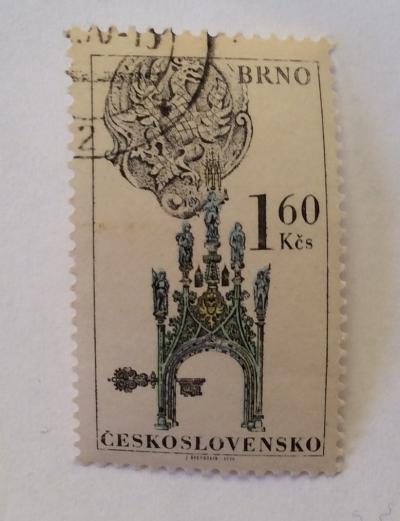 Почтовая марка Чехословакия (Ceskoslovensko ) Gothic Town Hall Tower, Brno | Год выпуска 1970 | Код каталога Михеля (Michel) CS 1956-2
