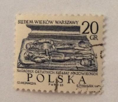 Почтовая марка Польша (Polska) Tombstone of last Duke of Mazovia   Год выпуска 1965   Код каталога Михеля (Michel) PL 1599-3