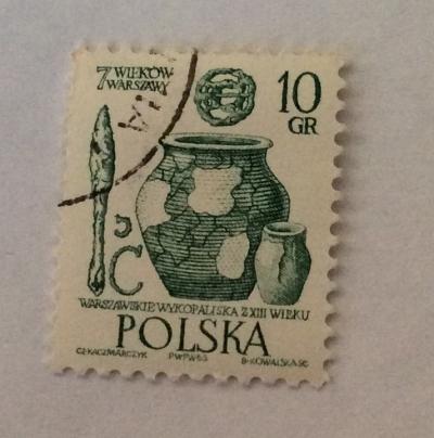 Почтовая марка Польша (Polska) Artifacts, 13th century | Год выпуска 1965 | Код каталога Михеля (Michel) PL 1598-3