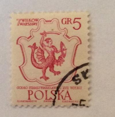 Почтовая марка Польша (Polska) Warsaw's Coat of Arms, 17th Cent. | Год выпуска 1965 | Код каталога Михеля (Michel) PL 1597-2