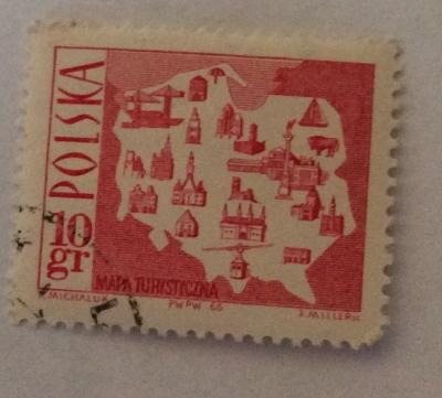 Почтовая марка Польша (Polska) Map showing tourist attractions | Год выпуска 1966 | Код каталога Михеля (Michel) PL 1705-3