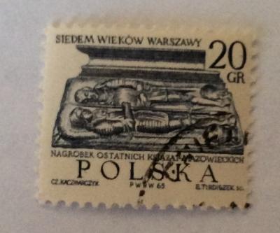 Почтовая марка Польша (Polska) Tombstone of last Duke of Mazovia   Год выпуска 1965   Код каталога Михеля (Michel) PL 1599-2