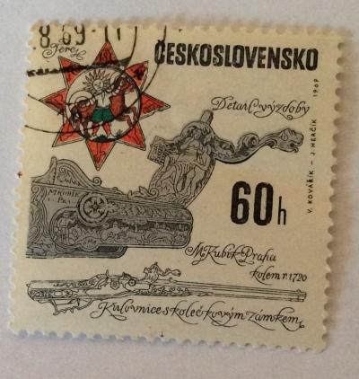 Почтовая марка Чехословакия (Ceskoslovensko ) Wheellock rifle from Matej Kubik workshop c. 1720   Год выпуска 1969   Код каталога Михеля (Michel) CS 1856-2