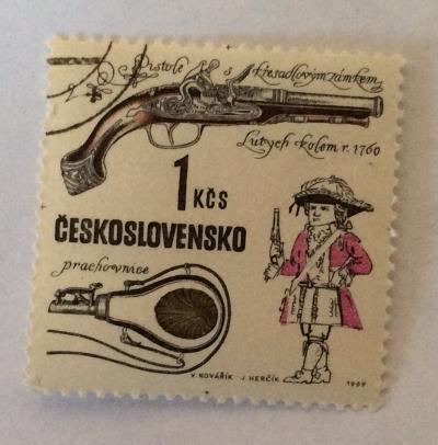 Почтовая марка Чехословакия (Ceskoslovensko ) Flintlock pistol, Devieuxe workshop, Liege, c. 1760   Год выпуска 1969   Код каталога Михеля (Michel) CS 1857-2