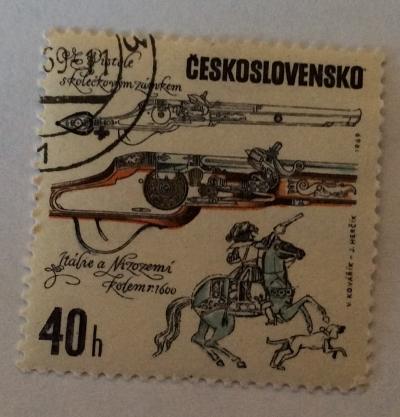 Почтовая марка Чехословакия (Ceskoslovensko ) Italian pistol with Dutch decoration | Год выпуска 1969 | Код каталога Михеля (Michel) CS 1855-2