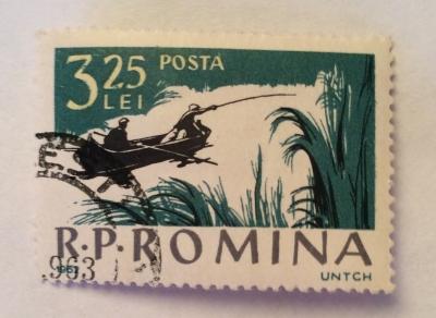 Почтовая марка Румыния (Posta Romana) Boat fishing in Donau Delta | Год выпуска 1962 | Код каталога Михеля (Michel) RO 2085-2