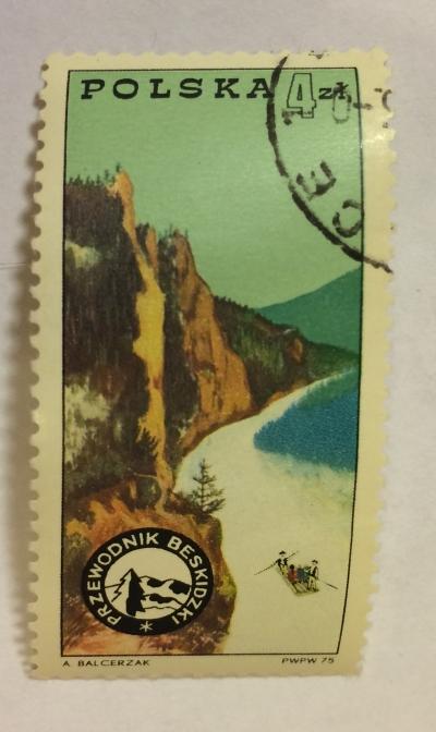 Почтовая марка Польша (Polska) River, Beskids Mountains and badge | Год выпуска 1975 | Код каталога Михеля (Michel) PL 2374