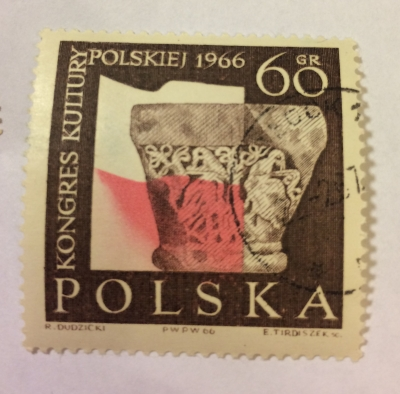Почтовая марка Польша (Polska) Capital of Romanesque colun from Tyniec and Polish Flag | Год выпуска 1966 | Код каталога Михеля (Michel) PL 1714-2