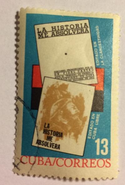 Почтовая марка Куба (Cuba correos) History Will Absolve Me, book by Fidel Castro | Год выпуска 1964 | Код каталога Михеля (Michel) CU 909-2