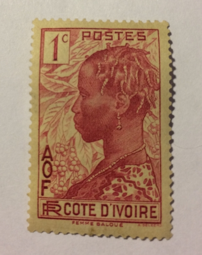 Почтовая марка Кот-д'Ивуар (Cote divoire postes) Baoule woman & coffee branches | Год выпуска 1942 | Код каталога Михеля (Michel) CI 112-2