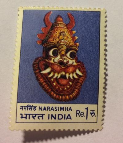 Почтовая марка Индия (India postage) Narasimha (indian mask)   Год выпуска 1974   Код каталога Михеля (Michel) IN 588