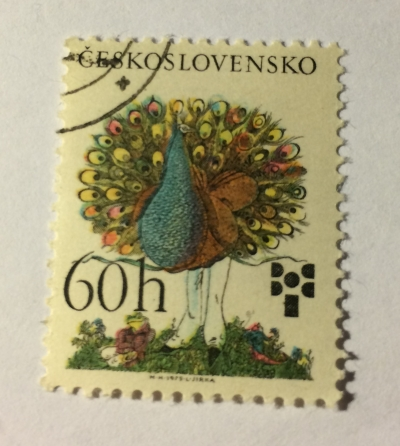 Почтовая марка Чехословакия (Ceskoslovensko ) Peacock, by Klaus Ensikat | Год выпуска 1975 | Код каталога Михеля (Michel) CS 2270