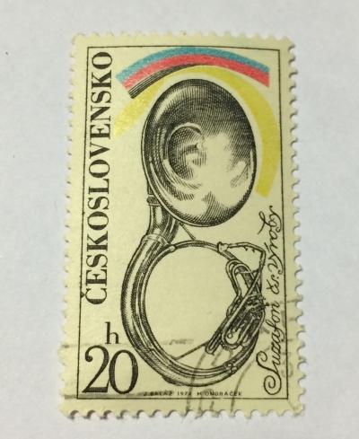 Почтовая марка Чехословакия (Ceskoslovensko ) Sousaphone | Год выпуска 1974 | Код каталога Михеля (Michel) CS 2203-2