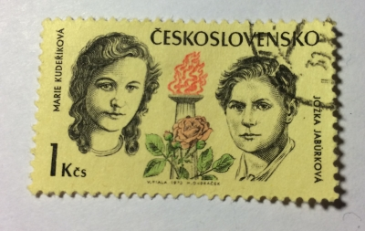 Почтовая марка Чехословакия (Ceskoslovensko) Marie Kudeříková and Jožka Jabůrková | Год выпуска 1973 | Код каталога Михеля (Michel) CS 2130