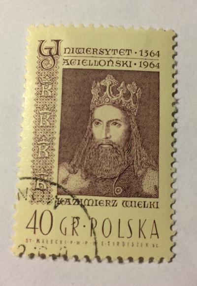 Почтовая марка Польша (Polska) King Casimir III,the Great   Год выпуска 1964   Код каталога Михеля (Michel) PL 1485