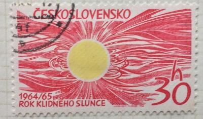 Почтовая марка Чехословакия (Ceskoslovensko ) Minimum Sun-spot Activity - Quiet Sun   Год выпуска 1965   Код каталога Михеля (Michel) CS 1516
