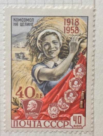 Почтовая марка СССР Целина | Год выпуска 1958 | Код по каталогу Загорского 2165