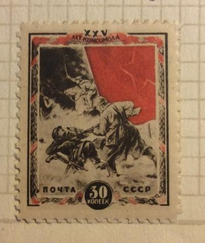 Почтовая марка СССР Эпизоды боев Отечественной и гражданской войн.   Год выпуска 1943   Код по каталогу Загорского 781