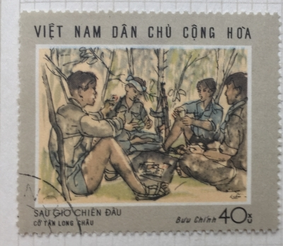"Почтовая марка Вьетнам (Vietnam) ""After a skirmish"" - painting by Co Tan Long Chau   Год выпуска 1969   Код каталога Михеля (Michel) VN 579"