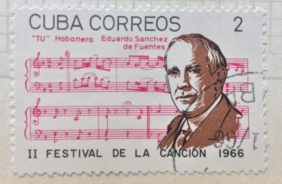 Почтовая марка Куба (Cuba correos) Eduardo Sanchez de Fuentes (1874-1944) | Год выпуска 1966 | Код каталога Михеля (Michel) CU 1227