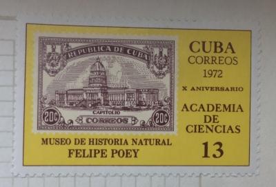 Почтовая марка Куба (Cuba correos) 10 years Academy of Sciences | Год выпуска 1972 | Код каталога Михеля (Michel) CU 1750