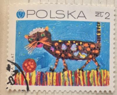 Почтовая марка Польша (Polska) Cat with ball | Год выпуска 1971 | Код каталога Михеля (Michel) PL 2082