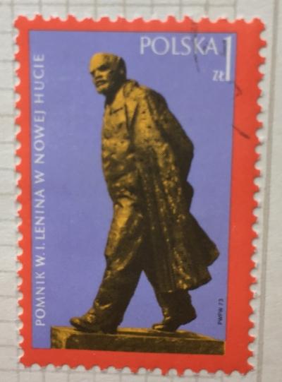 Почтовая марка Польша (Polska) Lenin Monument at Nowa Huta   Год выпуска 1973   Код каталога Михеля (Michel) PL 2245