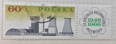 Почтовая марка Польша (Polska) Chemical Plant, Plock | Год выпуска 1966 | Код каталога Михеля (Michel) PL 1676Zf