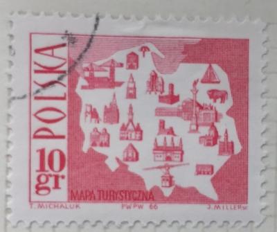 Почтовая марка Польша (Polska) Map showing tourist attractions   Год выпуска 1966   Код каталога Михеля (Michel) PL 1705