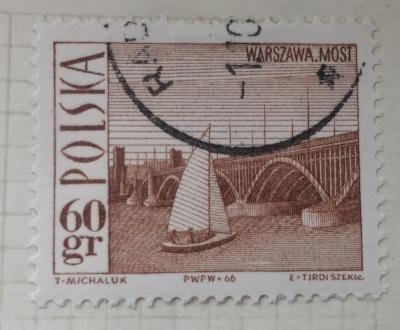 Почтовая марка Польша (Polska) Poniatowski Bridge, Warsaw, and sailboat | Год выпуска 1966 | Код каталога Михеля (Michel) PL 1708