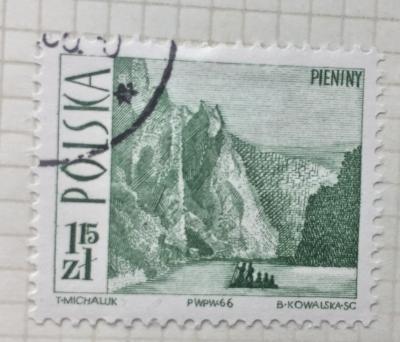 Почтовая марка Польша (Polska) Dunajec River Gorge in Pieniny Mountains | Год выпуска 1966 | Код каталога Михеля (Michel) PL 1710