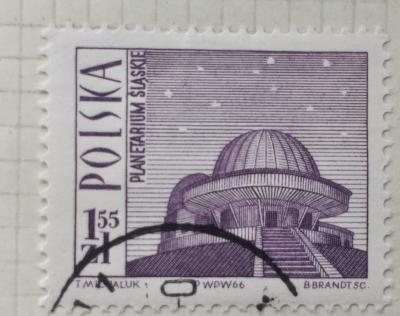 Почтовая марка Польша (Polska) Planetarium, Katowice | Год выпуска 1966 | Код каталога Михеля (Michel) PL 1712