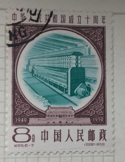 Почтовая марка Китай,КНР (China) Spinning machine | Год выпуска 1959 | Код каталога Михеля (Michel) CN 479