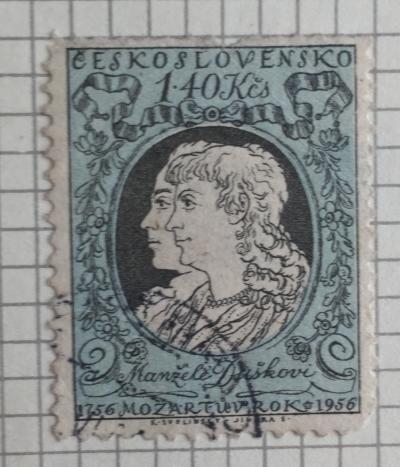 Почтовая марка Чехословакия (Ceskoslovensko) Manželé Duškovi   Год выпуска 1956   Код каталога Михеля (Michel) CS 972