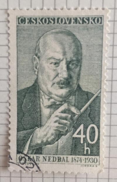 Почтовая марка Чехословакия (Ceskoslovensko) Oskar Nedbal (1874-1930), composer and conductor   Год выпуска 1960   Код каталога Михеля (Michel) CS 1219