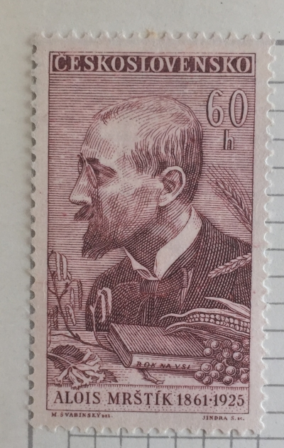 Почтовая марка Чехословакия (Ceskoslovensko) Alois Mrštík (1861-1925)   Год выпуска 1961   Код каталога Михеля (Michel) CS 1260