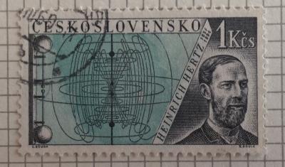 Почтовая марка Чехословакия (Ceskoslovensko) Heinrich Hertz (1857-1894) | Год выпуска 1959 | Код каталога Михеля (Michel) CS 1174