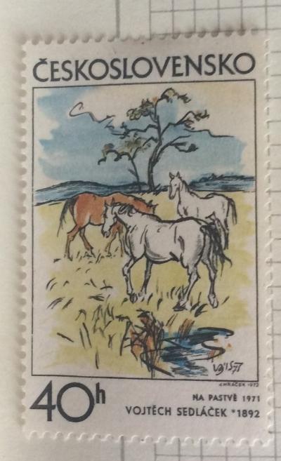 Почтовая марка Чехословакия (Ceskoslovensko) Pasture, by Vojtěch Sedláček (1971) | Год выпуска 1972 | Код каталога Михеля (Michel) CS 2060