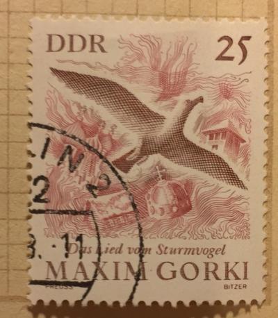 Почтовая марка ГДР (DDR) The Song of the Stormy Petrel (symbolic Illustration) | Год выпуска 1966 | Код каталога Михеля (Michel) DD 1352