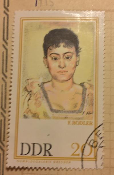 "Почтовая марка ГДР (DDR) ""Bildnis Madame d. R."" | Год выпуска 1967 | Код каталога Михеля (Michel) DD 1262"
