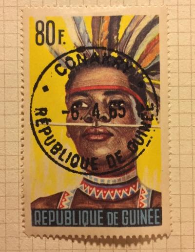Почтовая марка Гвинея (Republique du Guinee) Bassari dancer from Koundara | Год выпуска 1965 | Код каталога Михеля (Michel) GN 283