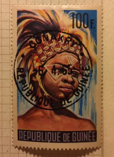 Почтовая марка Гвинея (Republique du Guinee) Sword dancer from Karana | Год выпуска 1965 | Код каталога Михеля (Michel) GN 284