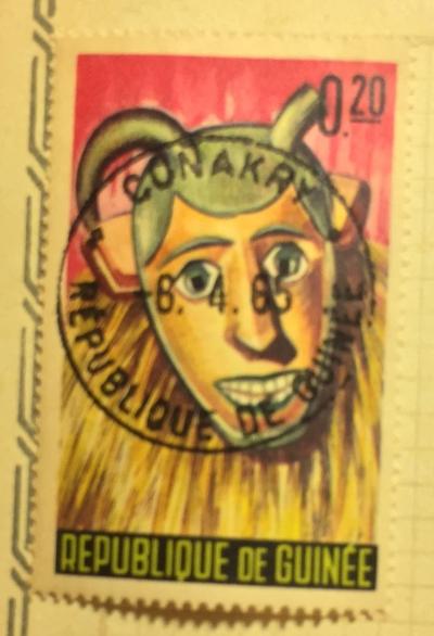Почтовая марка Гвинея (Republique du Guinee) Doudou Mask, Boke´ | Год выпуска 1965 | Код каталога Михеля (Michel) GN 274