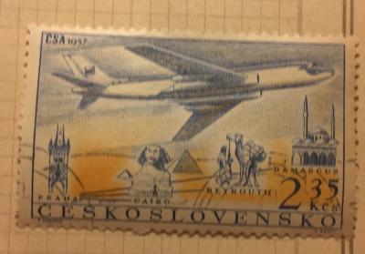 Почтовая марка Чехословакия (Ceskoslovensko) Airline: Prague-Cairo-Beirut-Damascus | Год выпуска 1957 | Код каталога Михеля (Michel) CS 1043