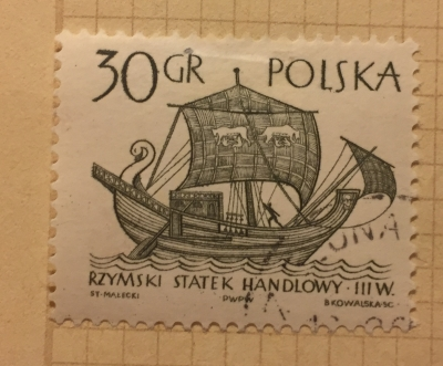 Почтовая марка Польша (Polska) 3rd century merchantman | Год выпуска 1965 | Код каталога Михеля (Michel) PL 1565