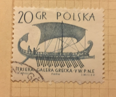 Почтовая марка Польша (Polska) Greek trireme | Год выпуска 1965 | Код каталога Михеля (Michel) PL 1564-2