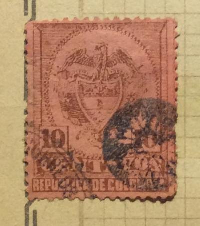 Почтовая марка Колумбия (Republica de Colombia correos) Brown 10 Centavo | Год выпуска 1892 | Код каталога Михеля (Michel) CO 111