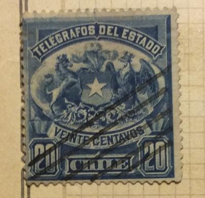 Почтовая марка Чили (Chili correos) Coat of Arms   Год выпуска 1904   Код каталога Михеля (Michel) CL 64I