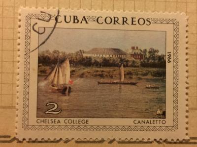 Почтовая марка Куба (Cuba correos) Canaletto : Chelsea-college | Год выпуска 1969 | Код каталога Михеля (Michel) CU 1150
