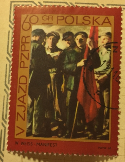 Почтовая марка Польша (Polska) Strikers, by S.Lentz   Год выпуска 1968   Код каталога Михеля (Michel) PL 1883